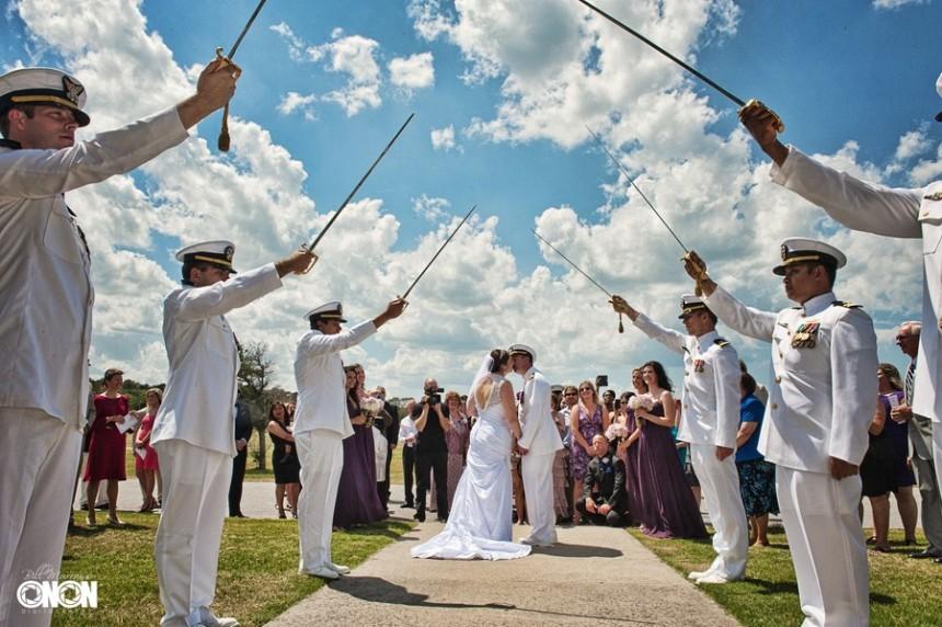 wedding photo of sword arch in virginia beach