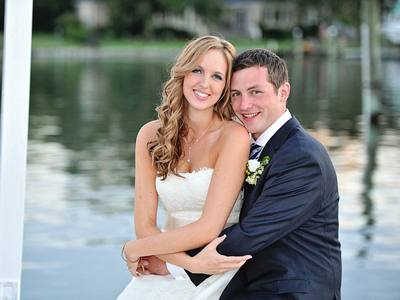 wedding photo of sam and skylar at the water table in virginia beach