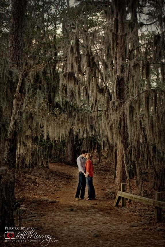 Beck and Wick at their engagement session in First Landing State park