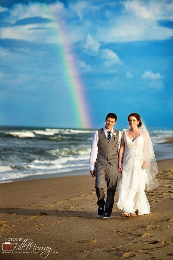obx wedding photo with a rainbow