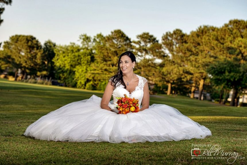 broad bay country club wedding photo of bride on the golf course