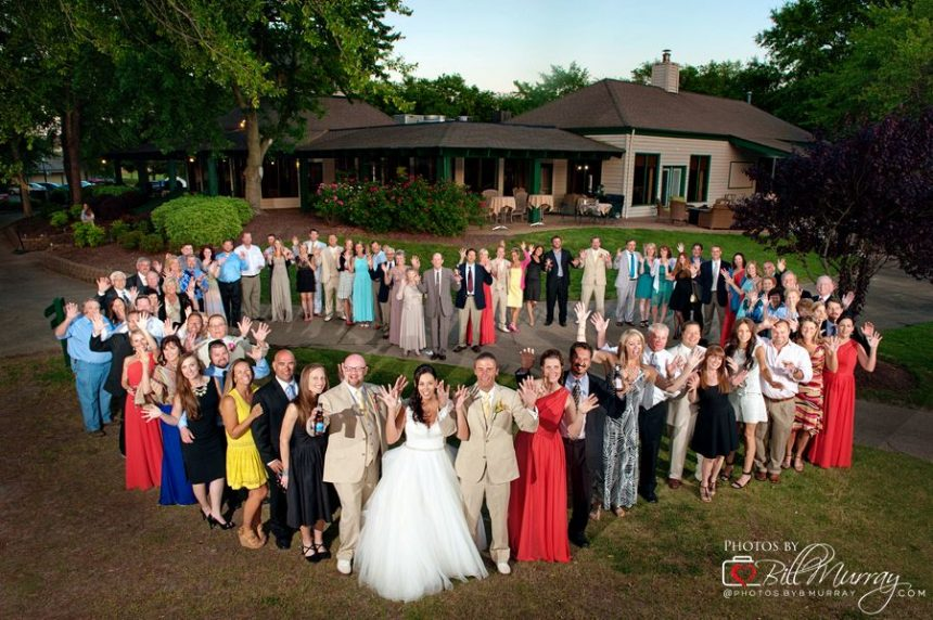 broad bay country club wedding photo of all guests group photo in heart shape