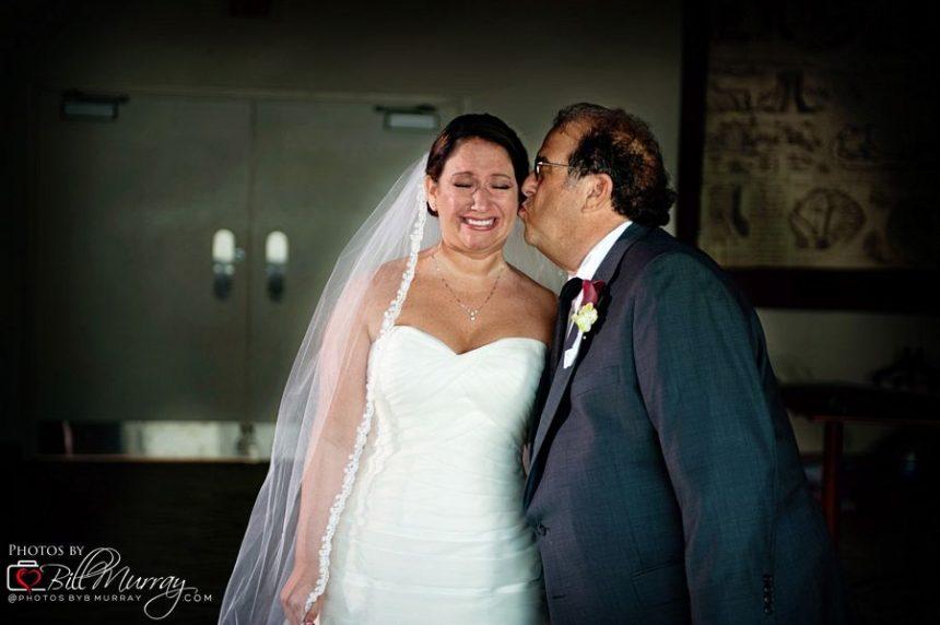 dad seeing nikki in her weddng dress at the half moone center