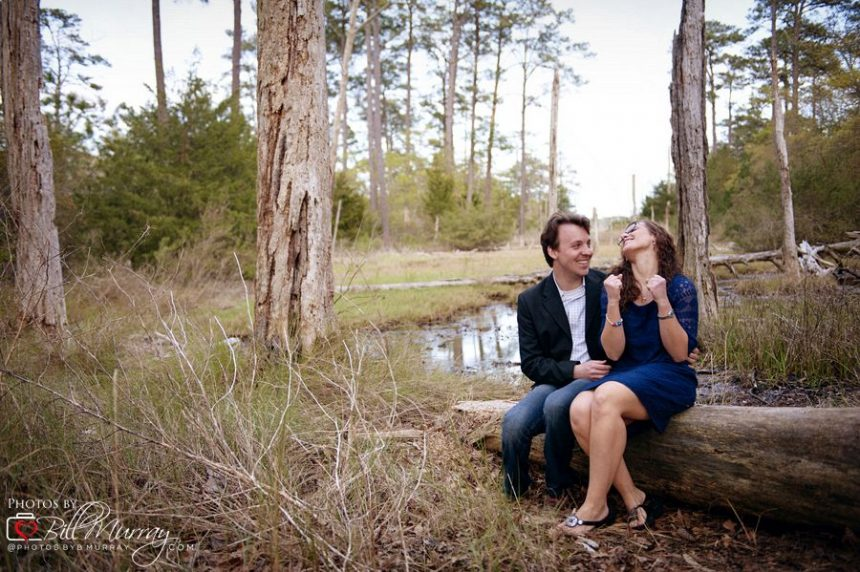 engagement photo in first landing state park wetlands