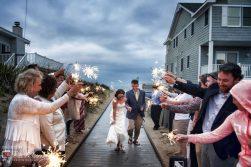 Sparklers for bride and groom exit in Sandbridge