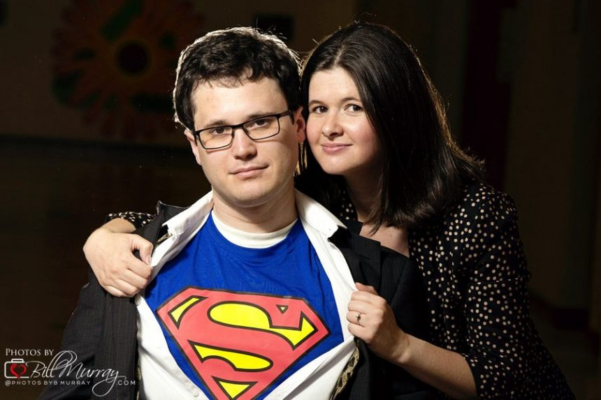 superman and lois lane engagement photo