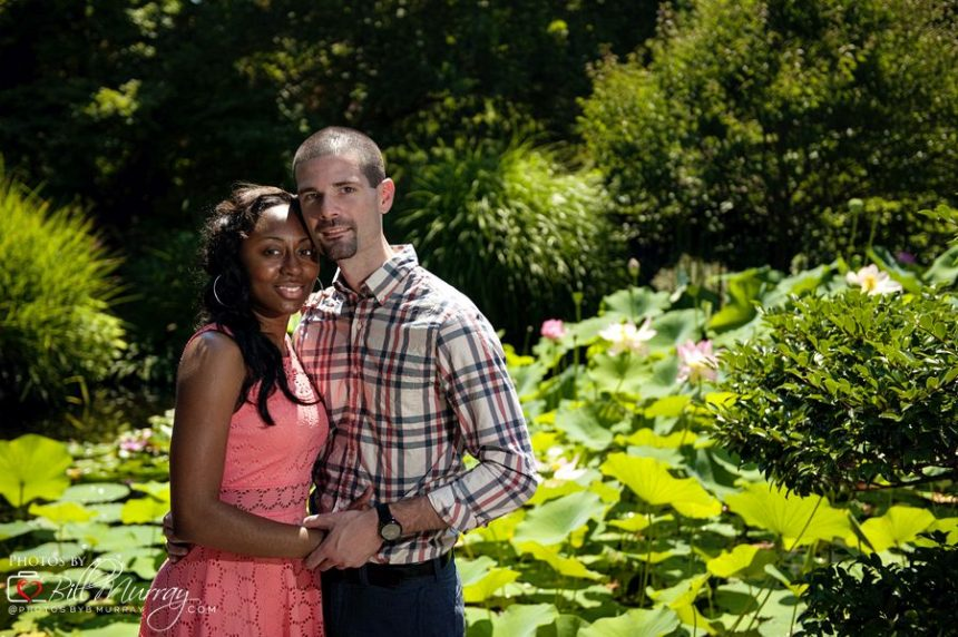 botanical gardens engagement photo in the japanese garden