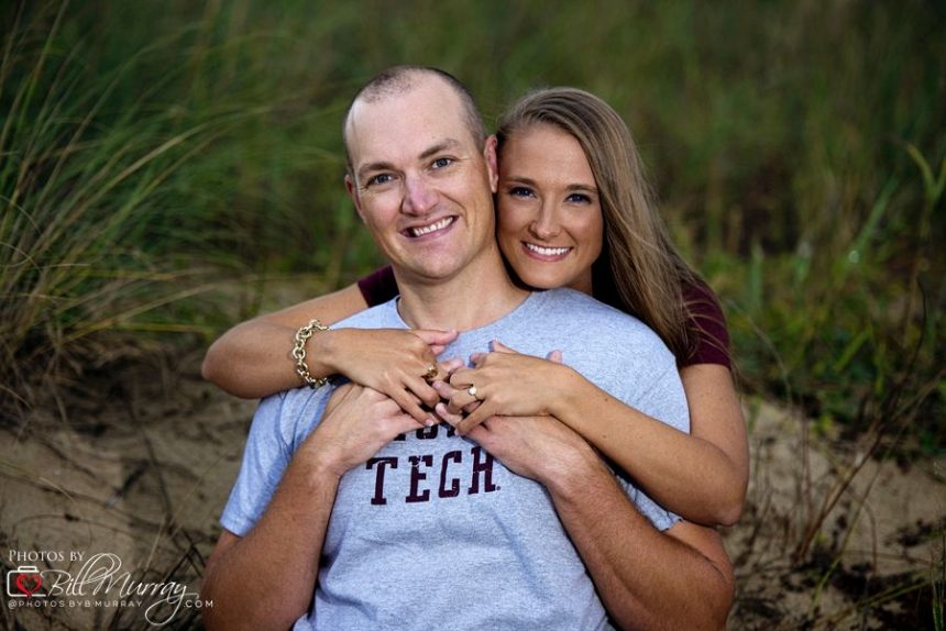 beach engagement photo virginia tech shirts
